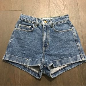 American Apparel High Waisted Light Denim Shorts